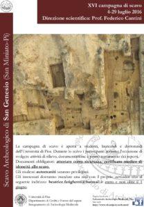 Locandina XVI campagna di scavo San Genesio