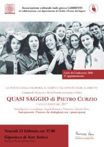 Locandina presentazione Quasi saggio, di Pietro Curzio