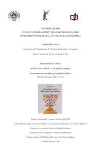 Locandina Grammatica storica delle parlate giudeo-italiane