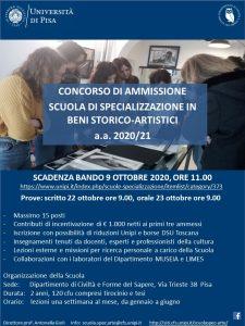Locandina SCUOLA SPEC BENI STORICO-ARTISTICI 2020-21