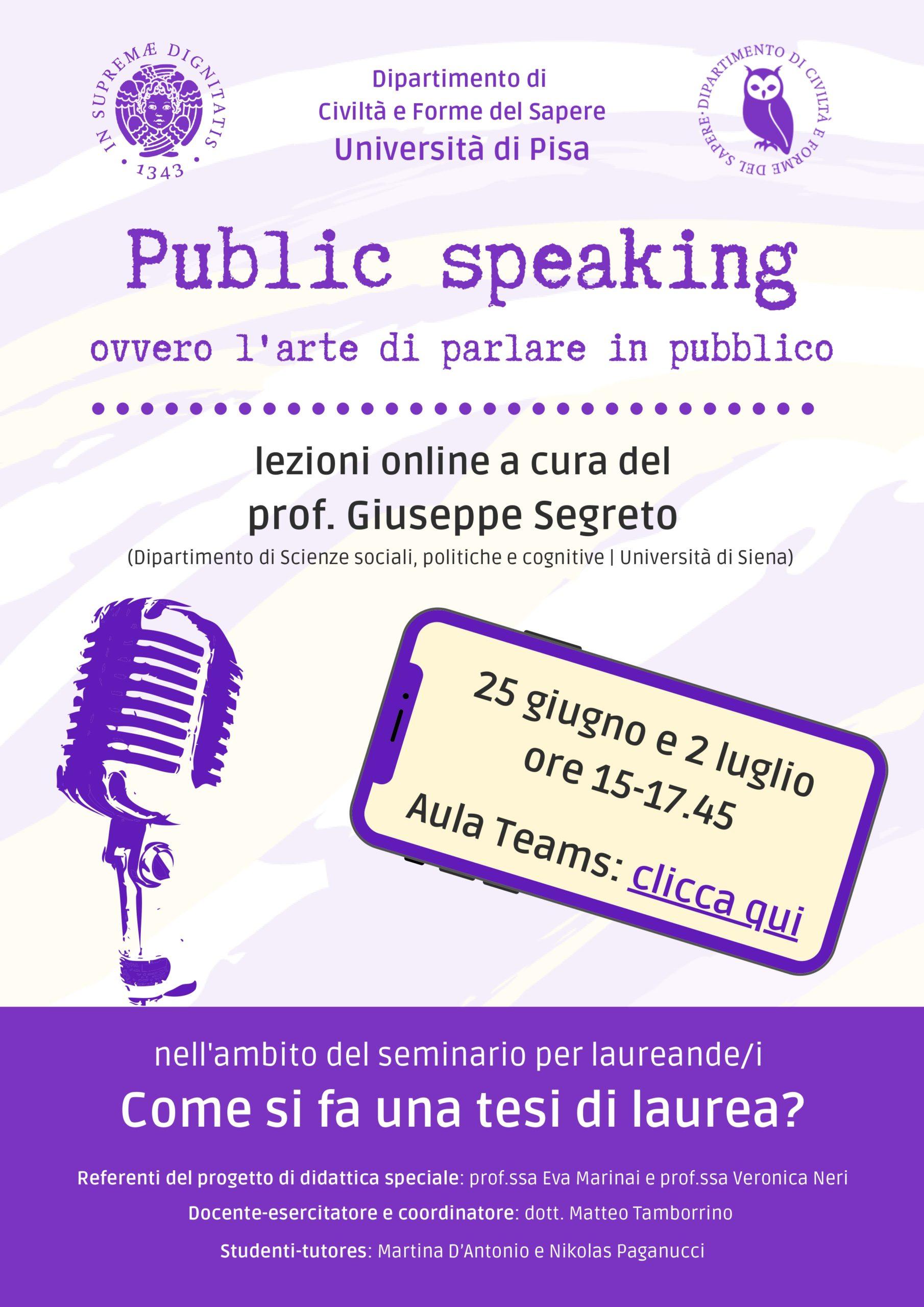 Locandina Public Speaking